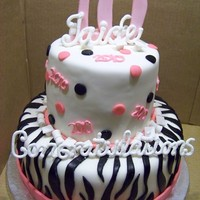 "Zebra Grad Cake   6 and 10"" cakes customer wanted the words done in royal icing standing up."