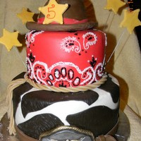"Cowboy  Cowboy bday cake. 9 and 6"" white cake sculpted hat in cake. Buttercream and fondant, fondant buckle. The light was funny in the pic..."