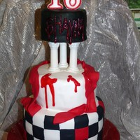16Th Bday Cake My daughter wanted a red, black and white themed birthday party and cake with a hint of twilight to the theme and this is what her and i...