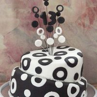 2Tier Topsy Turvey Black N White I made this for my daughters 13th bday couple of years ago my first ever topsy turvey cake. she didnt want girlie colours etc and decided...