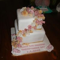 Dscf2101.jpg Christening cake. two tiered chocolate with antique colourd roses handmade by me.