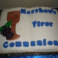 First Communion Cake   Cake is covered in fondant and all decoration is made of fondant.