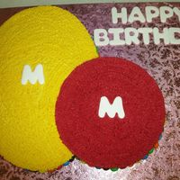 M & M Cake   This cake is for all the M&M lovers.