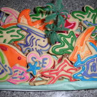 Tropical Paradise (Bridal Shower Theme) rolled sugar cookie cut-outs in various sea and island shapes, royal icing