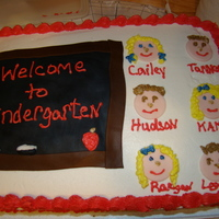 Welcome To Kindergarten Fondant Chalkboard and faces to take to my daughters Sunday school class.