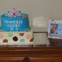 Polka Dot Princess Cake made to match invitation. Buttercream w/fondant accents.