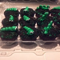 Worms Chocolate cupcake, oreo crumbs and fondant worms dusted with green disco dust!!