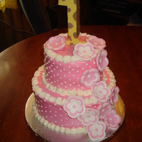Pink/white Baby Shower Cake. Iced in buttercream, gum paste flowers and #1.... TFL