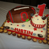 "Ohio State First Birthday  OSU Football cake with giant cupcake ""smash cake"" for my nephew's first birthday party. Football is chocolate buttercream..."
