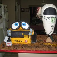 Wall- E And Eve I made this cake for a friends sons birthday. He is turning two and LOVES Wall-e. The cake is vanilla with white chocolate buttercreme. The...