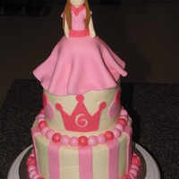 Pretty In Pink Princess Cake Princess is made from gumpaste , cake is covered in buttercream with fondant decorations