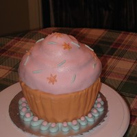 Large Cupcake Cake   Cake made with Wilton giant cupcake pan, fondant icing.
