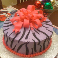 Zebra Print Birthday Cake   Buttercream with fondant accents
