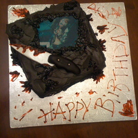 Horror Movie Cake   Buttercream with Edible Image and Fondant Knife