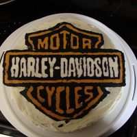 Harley Davidson Father's Day Cake first time with frozen buttercream transfer, was hard to keep the letters from running together since they were so close together, but I&#...
