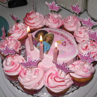 Barbie Edible Image And Pink Swirl Cuppies