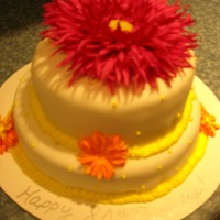 80Th Birthday Cake Received order for a cake with flowers, simple, mature, hot pink, orange and yellow. This is what I came up with.