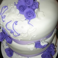 Purple Wedding bride sent pic of cake to duplicate, changed to purple. german choc, marble, vanilla, all with vanilla buttercream