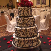 Scroll Wedding Cake Tiers are 12, 10, 8 and 6. All buttercream including the piping. First time using SPS - what a brilliant system. Thanks Leah for your...