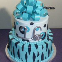 Zebra Print Buttercream with fondant accents