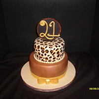 Sophisticated 21 6 & 8 in rounds covered in fondant. Handpainted leopard print. Gumpaste topper.