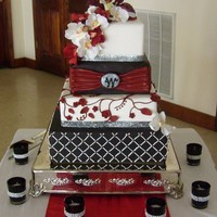 Burgundy And Black Wedding Cake 4-tier wedding cake.
