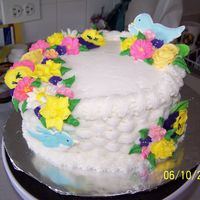 Course 2 Basketweave Cake Learning how to use color flow and making birds and flowers was fun. Doing the basketweave was tedious. It looks great though!