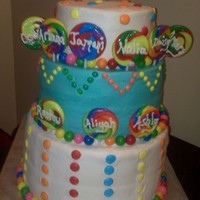 Candy Theme Cake   The cake was done for 9 children, each birthday childs name was on a lollipop!