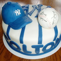 Yankees Cake   autographed ball and yankee hat