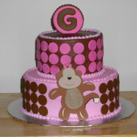 Monkey Baby Shower Cake BC icing with fondant accents...the monkey is wood...TFL!