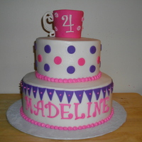 Tea Party Birthday Cake BC icing w/fondant accents...TFL!