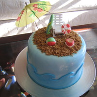 To The Beach!   Chocolate Fudge cake with Chocolate Chip Cookie Dough filling. BC & fondant accents.Umbrella is paper however! TFL.