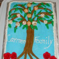 Geneological Tree A yellow cake with bc.