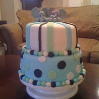 Twins 1St Birthday  This cake was inspired by a fellow CakeCentral baker. I saw a similar pic in the gallery and fell in love with the design. I made this cake...
