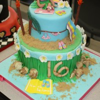 Sweet 16 Cake This was a luau-themed Sweet 16 cake that was completed by both myself and a partner as one of our projects at pastry school. TFL!