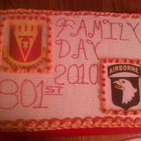 "Army Celebration Cake This is a 2 layer ""sheet"" cake. Its 18x26x4. Bottom layer is Chocolate, top layer is french vanilla. BC icing and filling. The..."