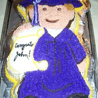 Boy Graduate Wilton Graduate pan. All B/C frosting w/ star tip. This is really a purple gown, but in the sun/heat, purple tends to go blue. It was nice...