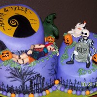 Nightmare Before Christmas   I had so much fun with this cake! All accents are fondant - figures were all handmade. TFL!!! :)
