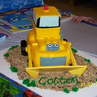 Dozer Cake   Loved doing this cake! All fondant (except bucket - cake board) with graham cracker, granola dirt!