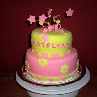 Katelynn's Birthday Cake   Made this cake for a friend who's daughter was turning 1. The cake was a success!