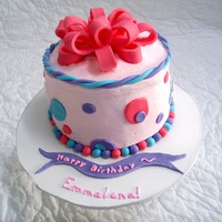 "Emmalena's Birthday A 6"" chocolate cake with raspberry filling. Iced in buttercream with Michele Foster's fondant accents. The birhday girl was..."