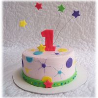 "Star Explosion 1St Birthday Based on ""Wonderful One"" birthday theme. Main cake is 8"" chocolate cake with cookies & cream filling. Smash cake is..."