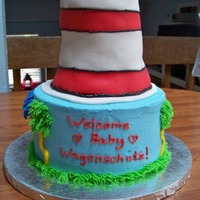 "Dr. Seuss Baby Shower Cake This baby shower cake is a mixture of Dr. Seuss' ""The Lorax"" trees on bottom and ""Cat in the Hat"" on top. It is an..."