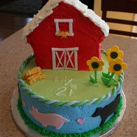 "Birthday Farm/barn Cake This was a 2nd birthday cake for my farm-crazy daughter! A 10"" coconut cake on bottom and devil's food chocolate barn pan (Wilton..."