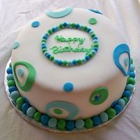 Blue & Green Circles & Balls Butter pecan cake with caramel filling, covered in vanilla buttercream and fondant. Inspired by a great sheet cake by cakeyladey.