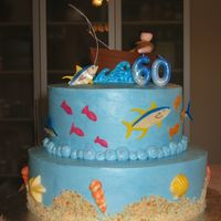 Fishing Themed Birthday Made this for a surprise 60th birthday for an avid fisherman. Cake is covered in IMBC with chocolate and fondant accents.