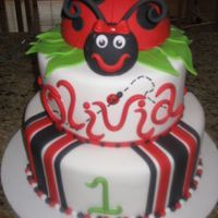 "Ladybug 1St Birthday Made this cake for a friend's daughter's first birthday. 9"" and 12"" tiers with 1/2 of the Wilton sports ball pan for..."