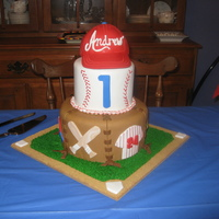 "Baseball 1St Birthday Made this for a friend's son's first birthday. The baseball cap topper is RKT covered in fondant. 6"" tier made to look like..."