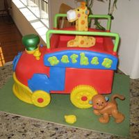 Animal Train Cake for my son's first birthday! I made the cake based on his favorite toy - the Animal Train. He LOVES that thing :) The best...
