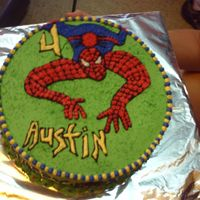 Spidey For Austin Choclate cake buttercream icing with sprinkles.
